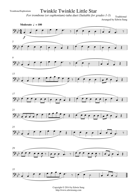 Twinkle Twinkle Little Star (for trombone/euphonium(bass)-tuba duet, suitable for grades 1-3)