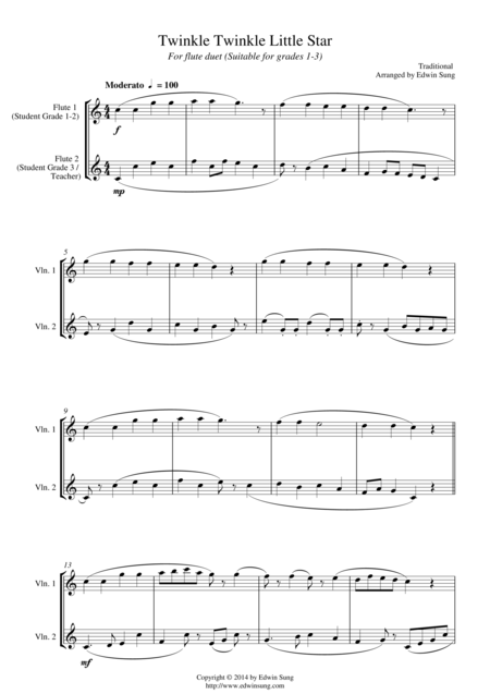 Twinkle Twinkle Little Star (for flute duet, suitable for grades 1-3)