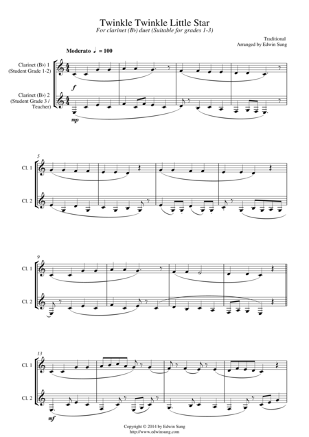 Twinkle Twinkle Little Star (for clarinet (Bb) duet, suitable for grades 1-3)