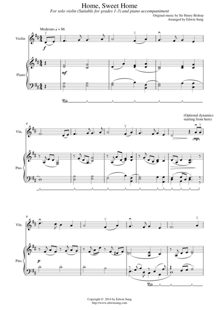 Home, Sweet Home (for violin and piano, suitable for grades 1-3)