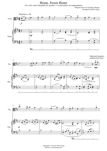 Home, Sweet Home (for viola and piano, suitable for grades 1-3)