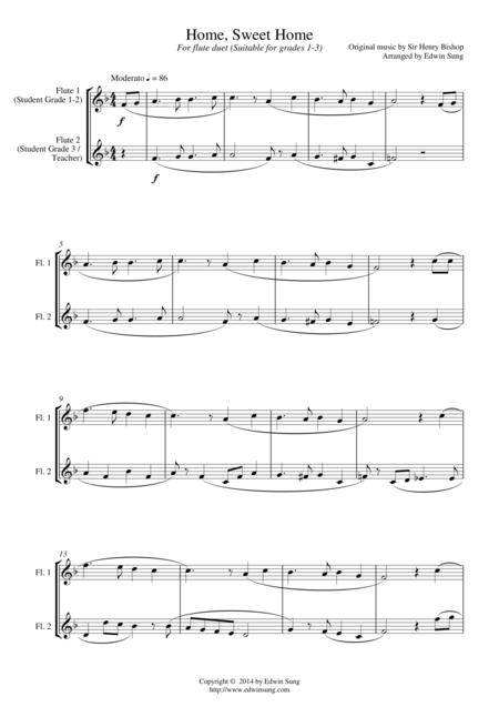 Home, Sweet Home (for flute duet, suitable for grades 1-3)