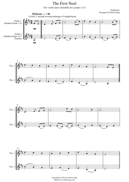 The First Noel (for violin duet, suitable for grades 1-5)