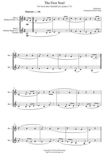 The First Noel (for horn duet, suitable for grades 1-5)
