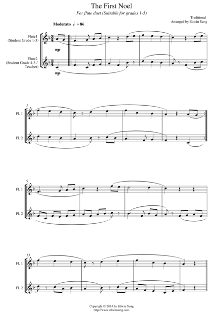 The First Noel (for flute duet, suitable for grades 1-5)