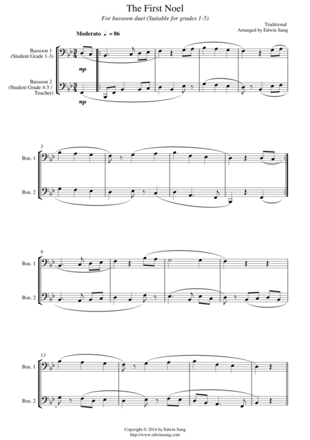 The First Noel (for bassoon duet, suitable for grades 1-5)