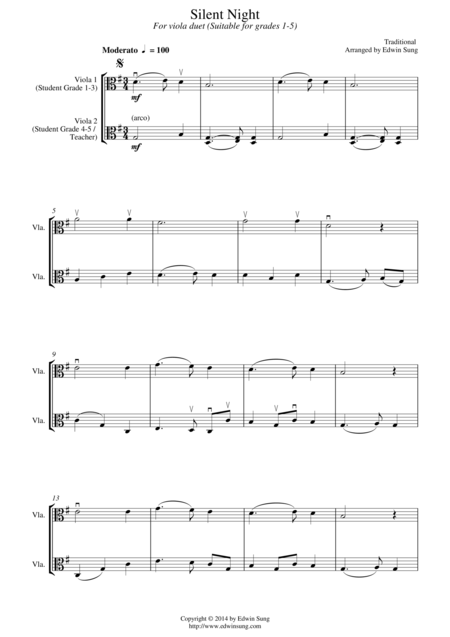 Silent Night (for viola duet, suitable for grades 1-5)