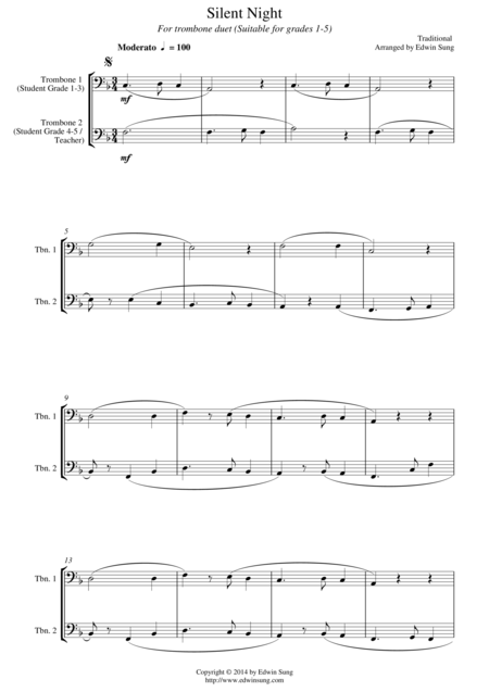 Silent Night (for trombone duet, suitable for grades 1-5)