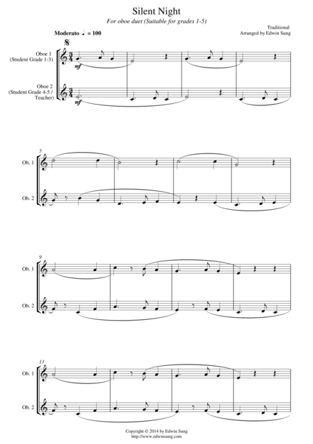 Silent Night (for oboe duet, suitable for grades 1-5)