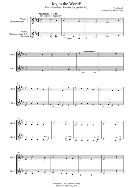 Joy to the World (for violin duet, suitable for grades 1-5)