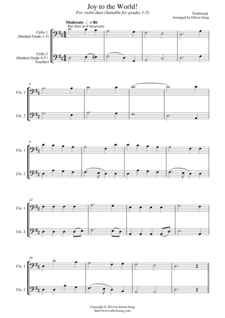 Joy to the World (for cello duet, suitable for grades 1-5)