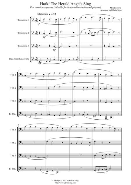 Hark! The Herald Angels Sing (for trombone quartet, suitable for intermediate-advanced players)