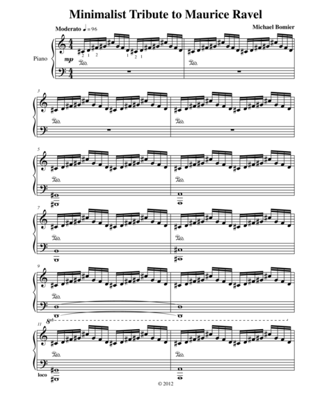 Minimalist Tribute to Maurice Ravel for Piano Solo from Three Minimalist Tributes