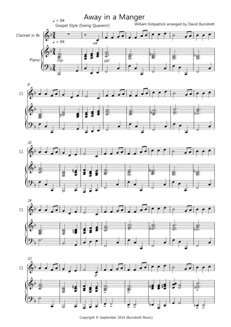 Away in a Manger (Gospel Style!) for Clarinet and Piano