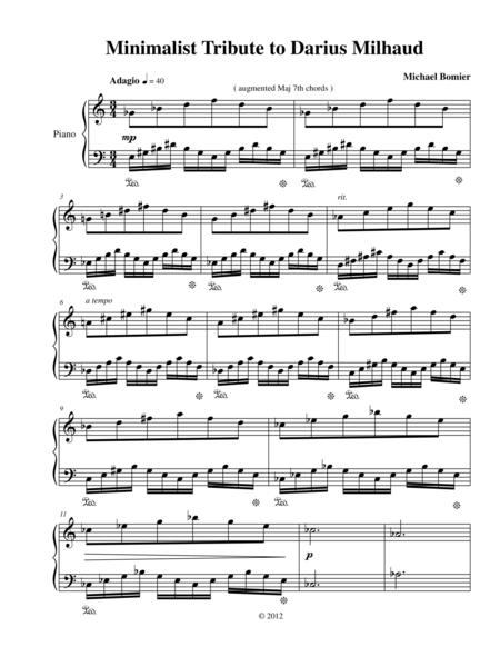 Minimalist Tribute to Darius Milhaud for Piano Solo from Three Minimalist Tributes