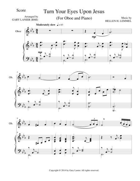 TURN YOUR EYES UPON JESUS (Oboe Piano and Oboe Part)