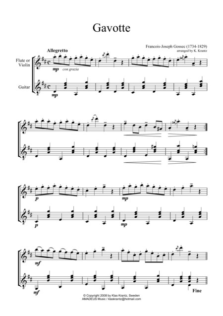 Gavotte for violin or flute and guitar