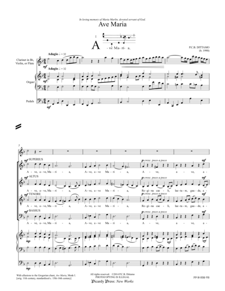 Ave Maria (SATB Choir, Bb/C Treble Instrument, Organ)