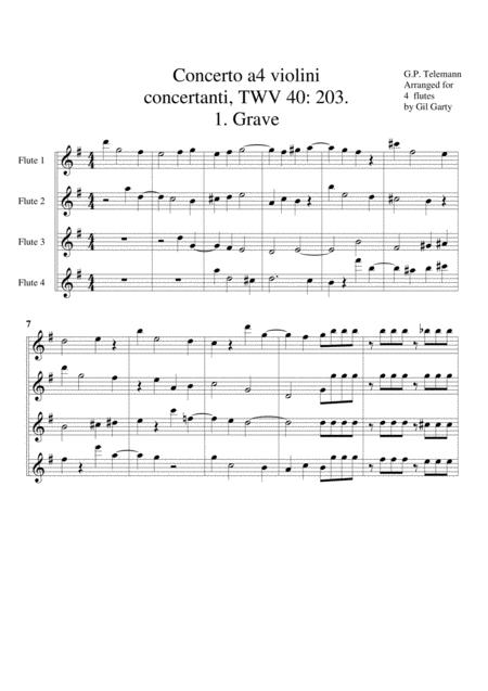 Concerto for 4 flutes (originally 4 violins), TWV 40 203