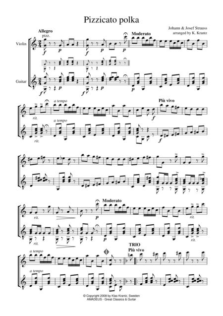 Pizzicato Polka for violin and guitar