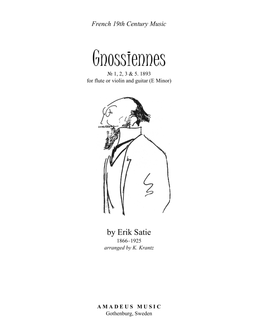 Gnossiennes (1,2,3+5) for violin or flute and guitar