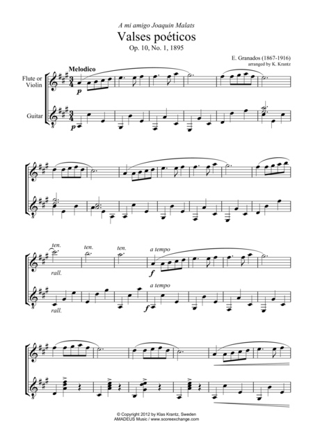 Waltz No. 1 from Valses poeticos for violin (flute) and guitar