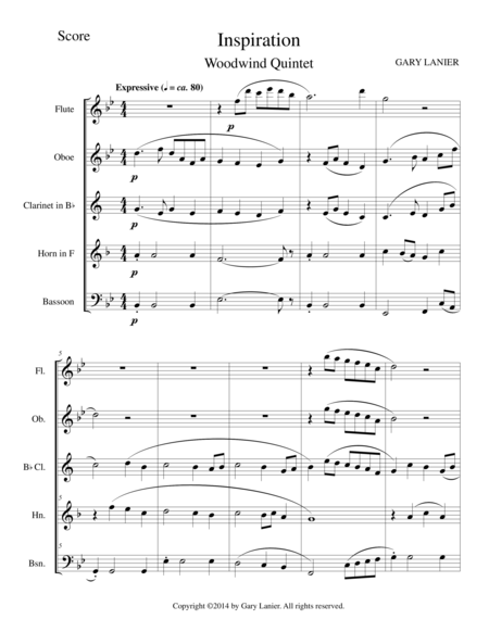 INSPIRATION (Woodwind Quintet Score and Parts)