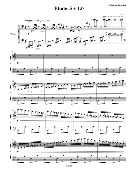 Etude 0.5 + 1.0 for Piano Solo from 25 Etudes using Symmetry, Mirroring and Intervals