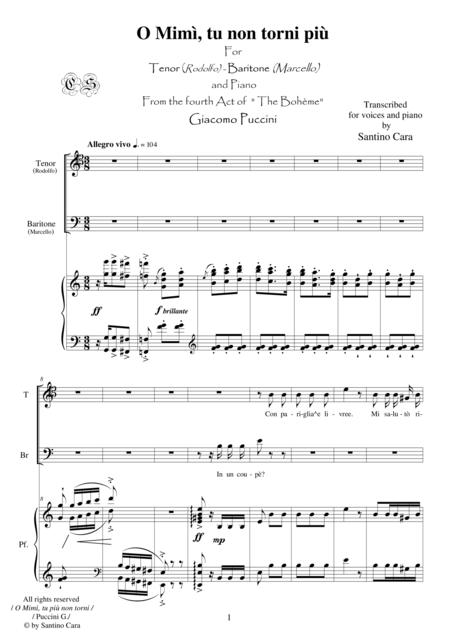 Puccini - La Bohème (Act4) O Mimì, tu più non torni (Tenor-Baritone-piano)