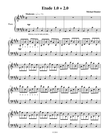 Etude 1.0 + 2.0 for Piano Solo from 25 Etudes using Symmetry, Mirroring and Intervals