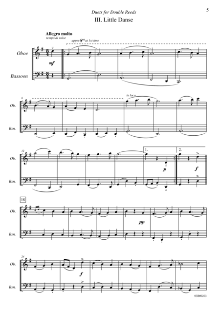 Duets for Double Reeds, Op. 3b - 5 mini duets for Oboe and Bassoon (III. Little Danse)