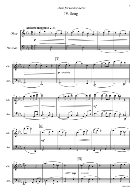 Duets for Double Reeds, Op. 3b - 5 mini duets for Oboe and Bassoon (IV. Song)