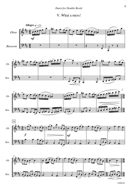 Duets for Double Reeds, Op. 3b - 5 mini duets for Oboe and Bassoon (V. What a mess!)
