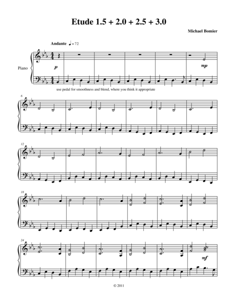 Etude 1.5+2.0+2.5+3.0 for Piano Solo from 25 Etudes using Symmetry, Mirroring, and Intervals