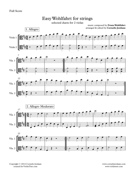 Easy Wohlfahrt for strings - selected duets for 2 violas