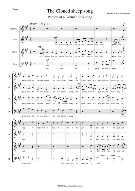 The Cloned sheep song for mixed choir (SATB)