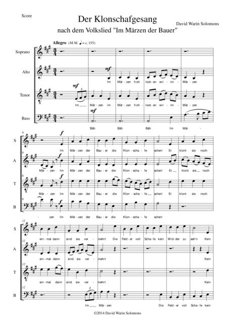 Der Klonschafgesang for mixed choir (SATB)