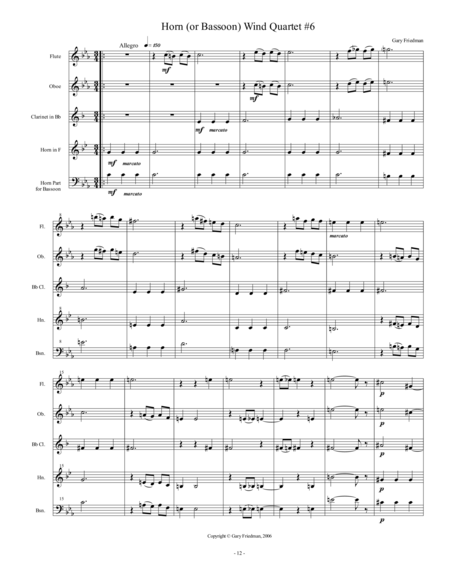 Horn (or Bassoon) Wind Quartet #6