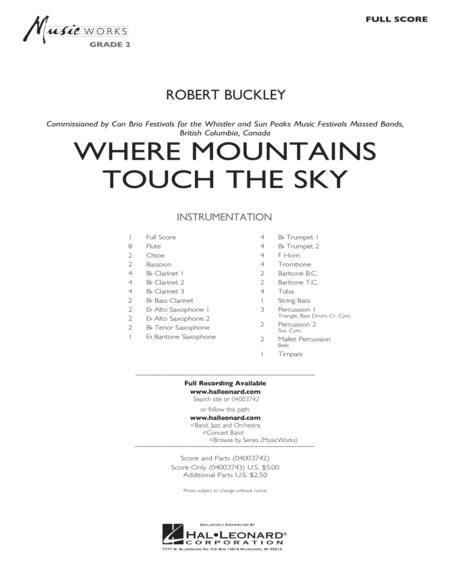 Where Mountains Touch the Sky - Full Score