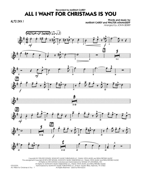 All I Want for Christmas Is You - Alto Sax 1