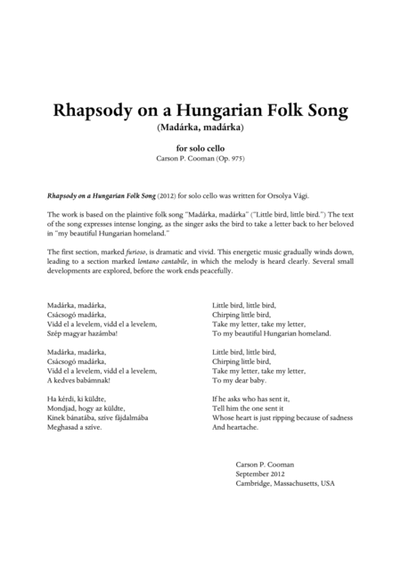Carson Cooman - Rhapsody on a Hungarian Folk Song (2012) for solo cello
