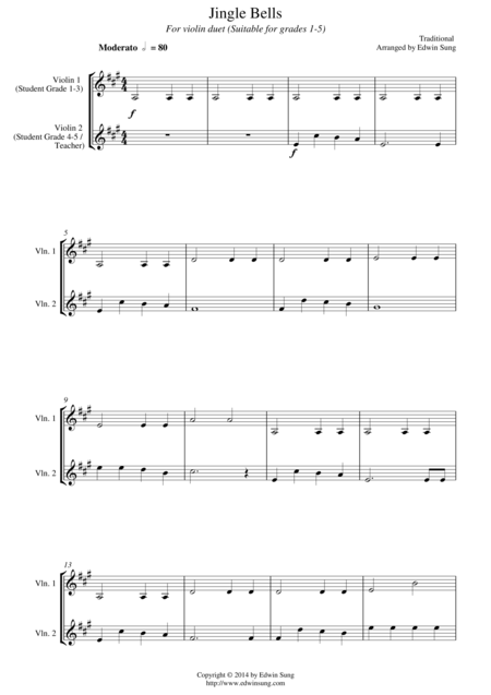 Jingle Bells (for violin duet, suitable for grades 1-5)