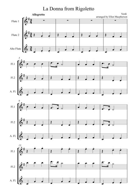 La Donna from Rigoletto by Giuseppe Verdi arranged for Flute Trio
