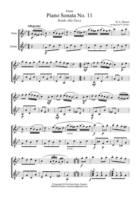Rondo alla turca for flute and easy guitar