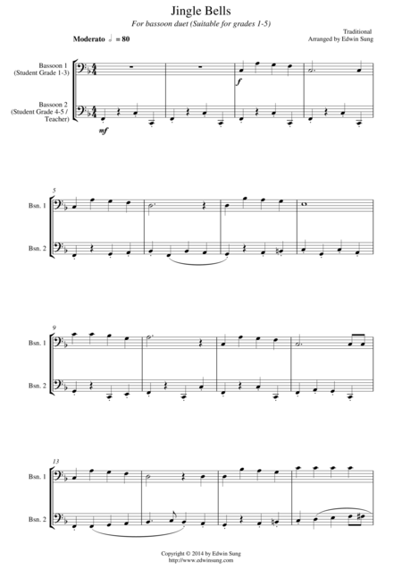 Jingle Bells (for bassoon duet, suitable for grades 1-5)