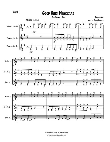 Good King Wenceslas - for Trumpet Trio