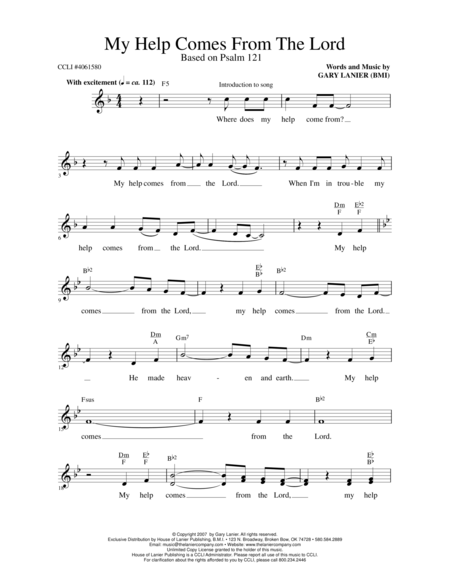 MY HELP COMES FROM THE LORD (Lead Sheet with melody, chords and lyrics)