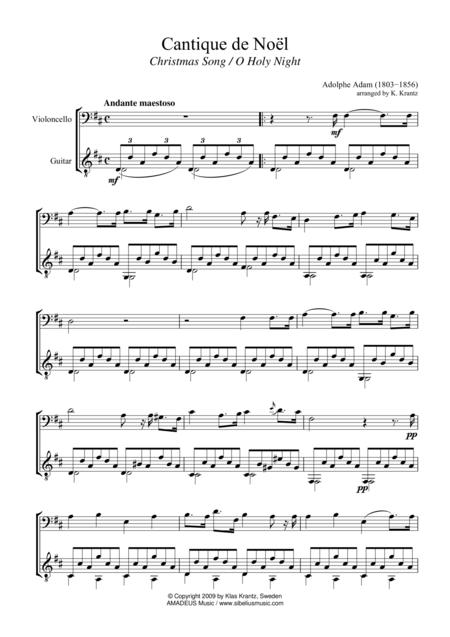 O Holy Night / Cantique de Noel for cello and guitar