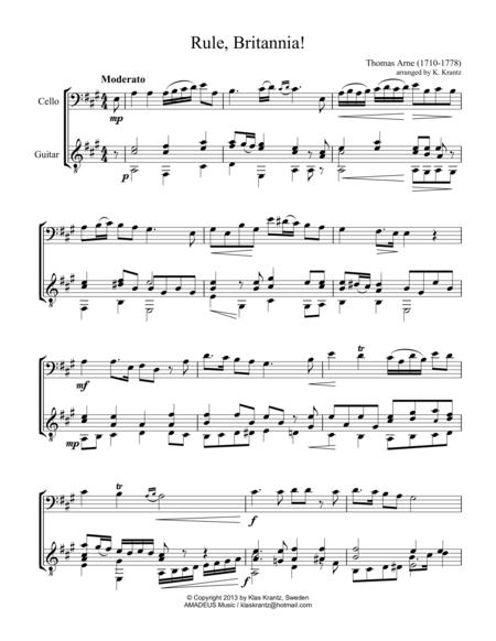 Rule Britannia! for cello and guitar
