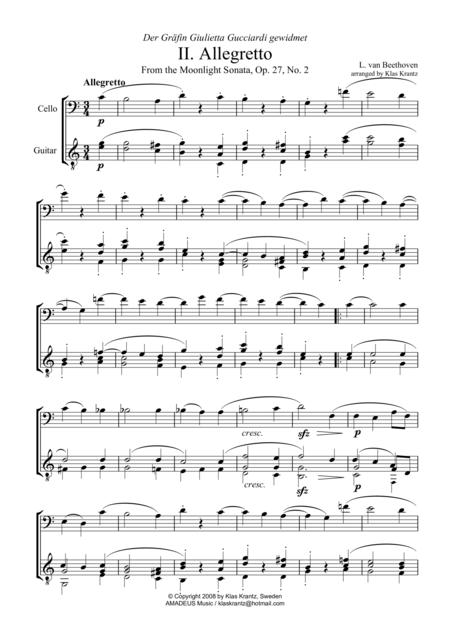 Allegretto (Moonlight Sonata) for cello and guitar